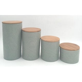 embossed sage 4 pc canister set