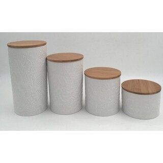 embossed white 4 pc canister set