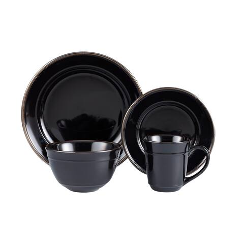 lucienne black 16 pc dinner set