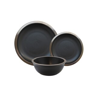 metallic black 12pc dinner set