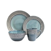 mosaic blue 16 pc dinnerware set