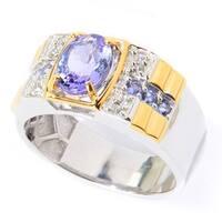 Michael Valitutti Palladium Silver Tanzanite & White Zircon Polished Men's Ring