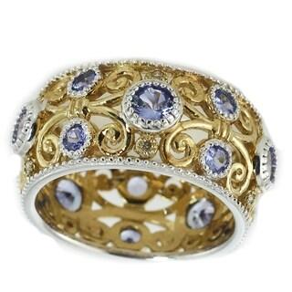 Michael Valitutti Palladium Silver Lolite & Diamond Band Ring