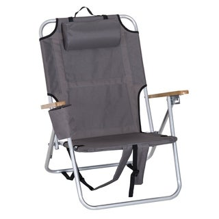 Outsunny Aluminum Portable Reclining Outdoor Quad Chair Backpack With Headrest And Storage - Grey