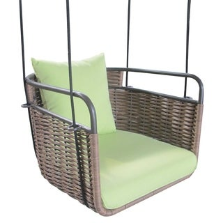 Outdoor Green/ Brown Wicker Chair Swing