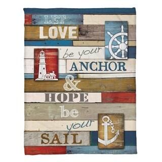 Laural Home Nautical Words Fleece Throw