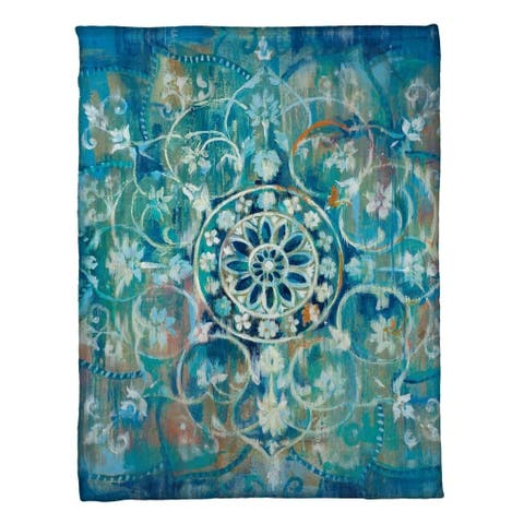 Laural Home Mandala Blue Fleece Throw
