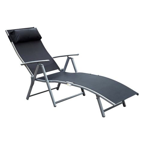 Outsunny Steel Fabric Outdoor Folding Chaise Lounge Chair Recliner with Portable Design & Adjustable Backrest - Black