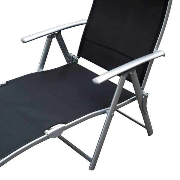 Outstanding Shop Outsunny Steel Sling Fabric Outdoor Folding Chaise Machost Co Dining Chair Design Ideas Machostcouk