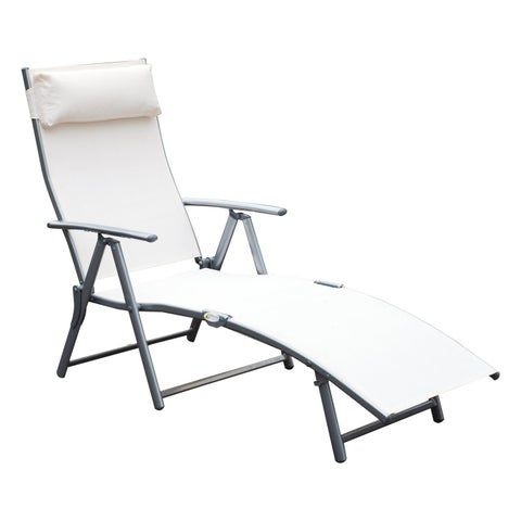 Outsunny Steel Sling Fabric Outdoor Folding Chaise Lounge Chair Recliner - Cream White