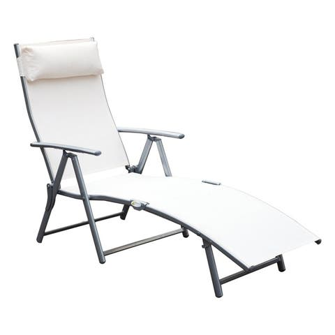 Outsunny Steel Fabric Outdoor Folding Chaise Lounge Chair Recliner with Portable Design & Adjustable Backrest - White