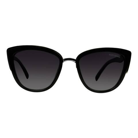 Suzy L. Women's Black Cat-Eye Polarized Sunglasses