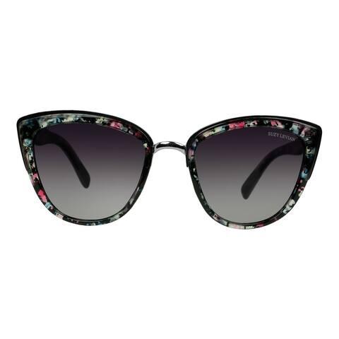 Suzy L. Women's Pink Floral Cat-Eye Polarized Sunglasses
