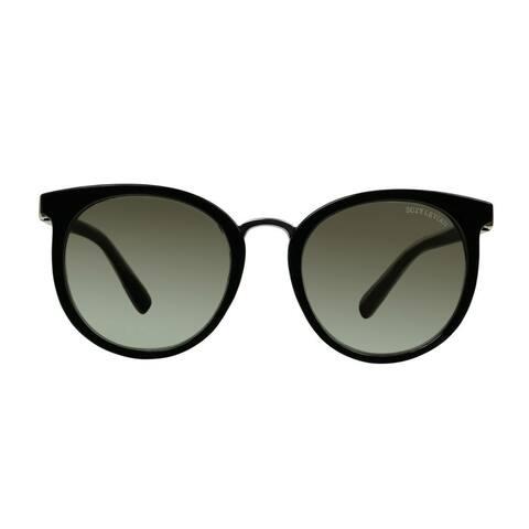 Suzy L. Women's Black Round Silver Mirrored Polarized Sunglasses
