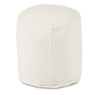 Majestic Home Goods Cream Sherpa Indoor / Outdoor Ottoman Pouf 16