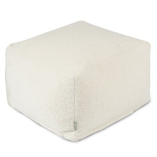 Majestic Home Goods Indoor Cream Sherpa Ottoman Pouf 27 in L x 27 in W x 17 in H