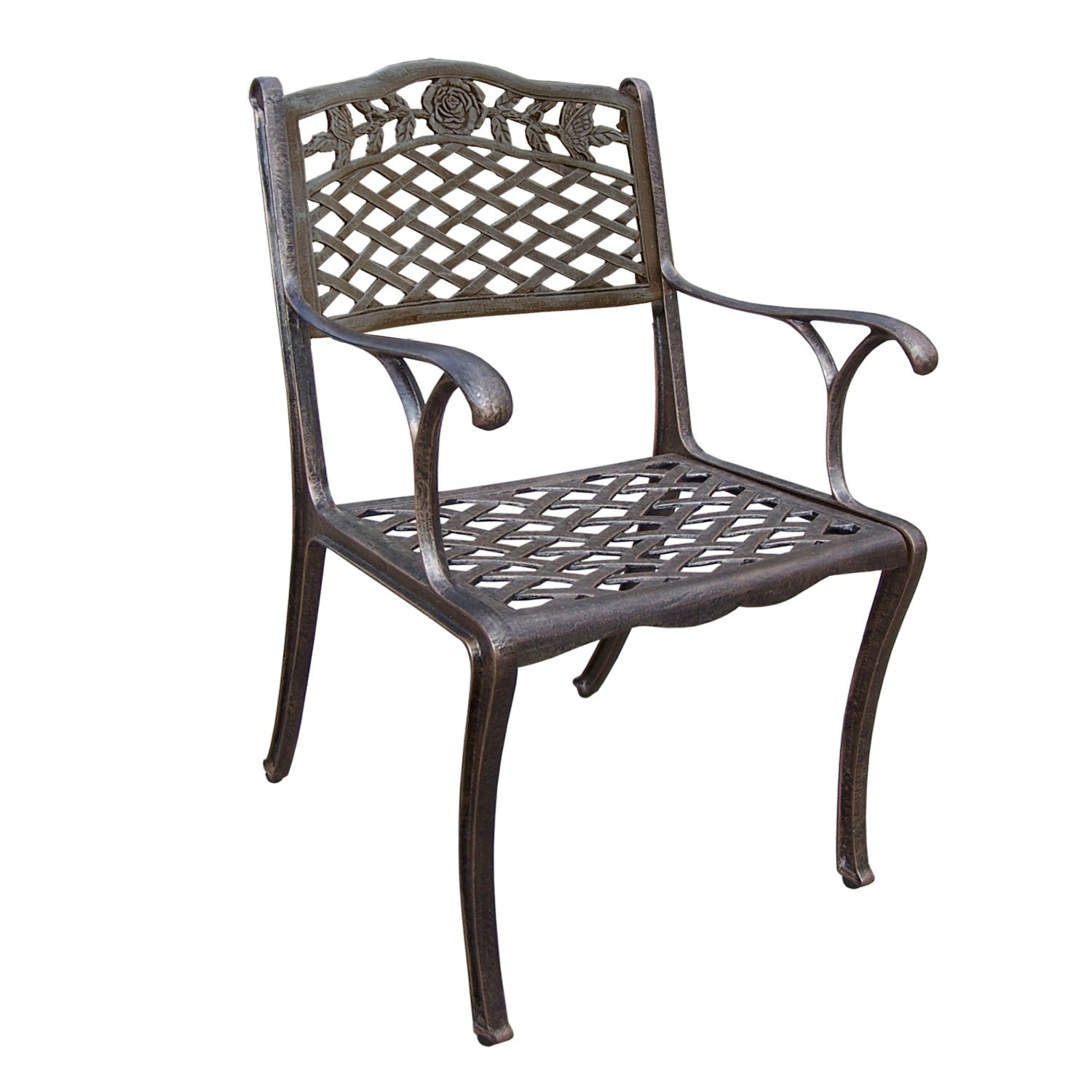 Picture of: Shop Tea Rose Cast Aluminum Outdoor Dining Chair Overstock 22258594