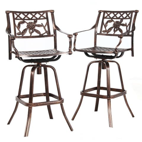 Antique Bronze Rose Cast Aluminum Swivel Bar Stools (Set of 2)