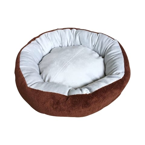 ALEKO Round Pet Dog Brown Bed with Removable Pillow 22 x 17.5 Inches