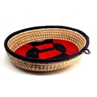 Handmade Banana Fiber Red Black Oval Basket (Uganda)