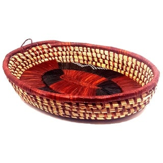 Handmade Banana Fiber Red Brown Oval Basket (Uganda)