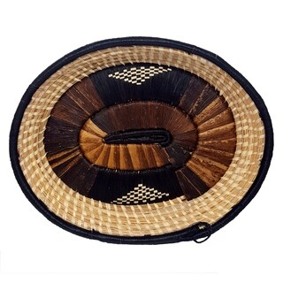 Handmade Banana Fiber Black Brown Oval Basket (Uganda)