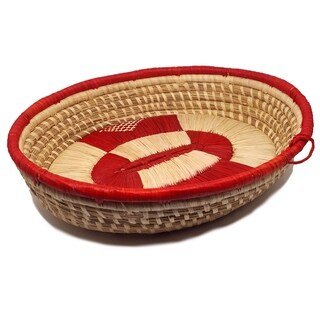 Handmade Banana Fiber Red Oval Basket (Uganda)
