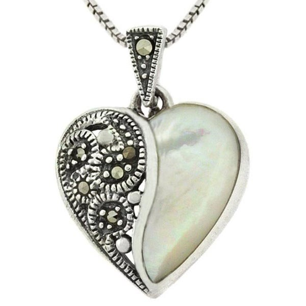 Glitzy Rocks Sterling Silver Marcasite Mother of Pearl Pendant