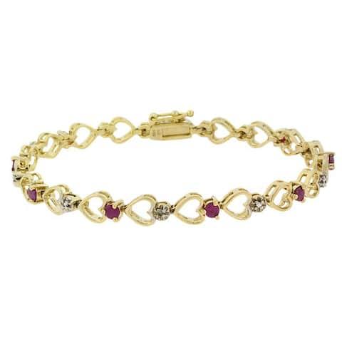Glitzy Rocks 18k Gold over Sterling Silver Ruby Heart Bracelet