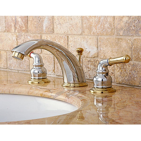 Shop kingston brass chrome polished brass widespread bathroom faucet free shipping today for Polished gold bathroom faucets