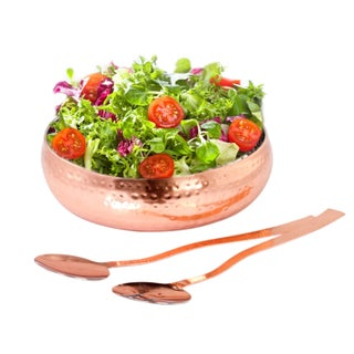 Copper Stainless Steel Salad Bowl With Serving Spoon Set - Hammered Stainless Steel Serving Bowl Set