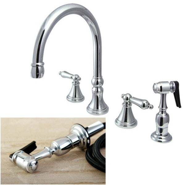 Chrome 4 Hole Kitchen Faucet And Sprayer Silver