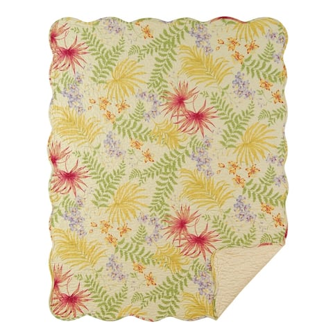 Tropical Paradise Quilted Cotton Throw Blanket