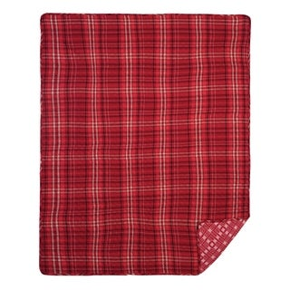 Carter Plaid Red Quilted Throw