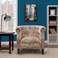 Handy Living Chesterfield Multi Coral Paisley Arm Chair