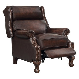 Traditional Nailhead Brown Leather Upholstered Pushback Recliner