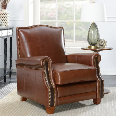 Traditional Nailhead Brown Leather Upholstered Accent Armchair