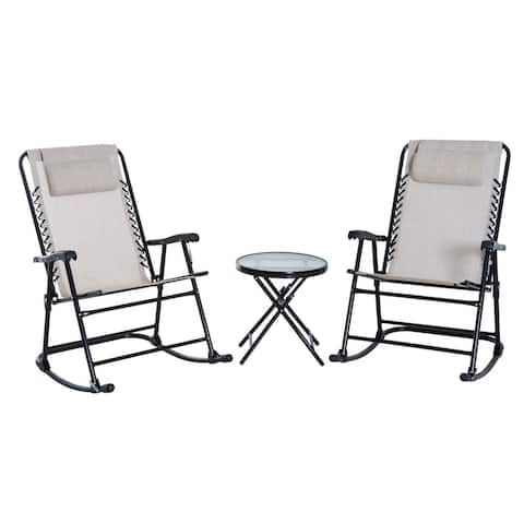 Outsunny 3 Piece Folding Rocking Chair Patio Dining Table Set with 2 Rocking Chairs & a Round Coffee Table, White