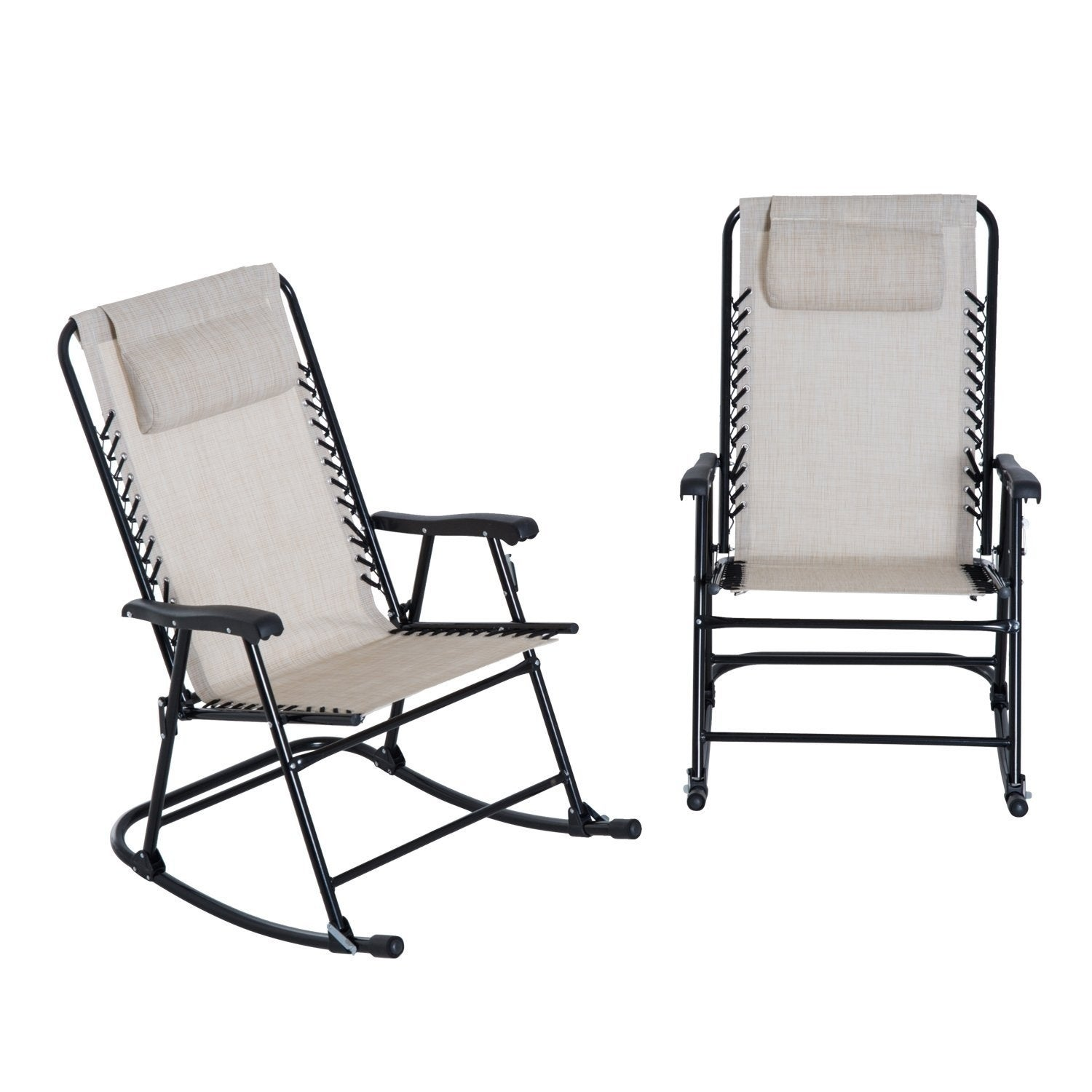 Outsunny Outdoor Rocking Chair Patio Table Seating Set Folding Cream White On Free Shipping Today 22263489