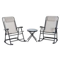 Outsunny Outdoor Rocking Chair Patio Table Seating Set Folding - Cream White