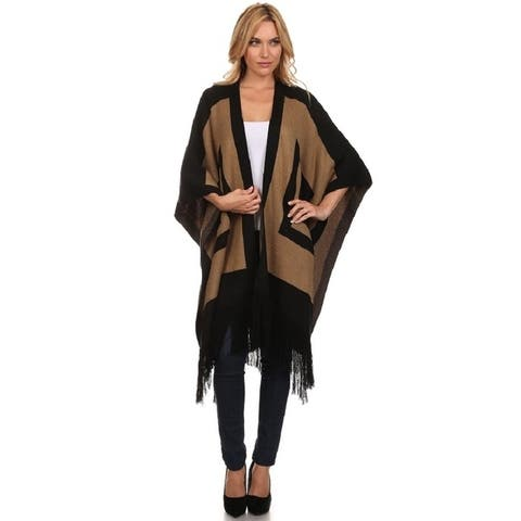 High Secret Women's Black/Brown Thick Knit Wrap Poncho Cape - One Size Fits most - One Size Fits most