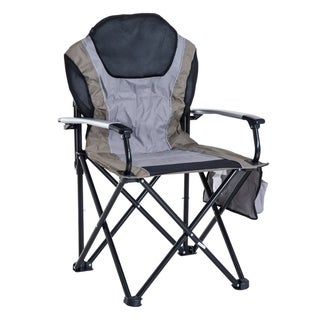 Outsunny Aluminum Outdoor Folding Padded Camping Chair with Side Storage Pocket - Green