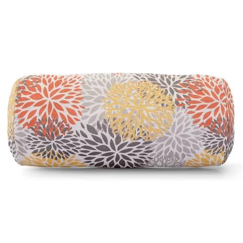 Majestic Home Goods Indoor Outdoor Citrus Blooms Round Bolster Decorative Throw Pillow