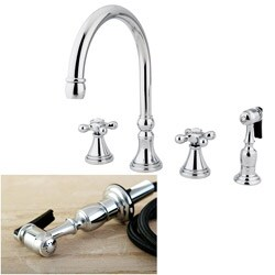 Chrome 4-hole Cross Handles Kitchen Faucet and Sprayer