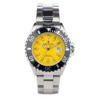 Croton Men's CA301295BKYL Stainless Sport Bracelet Watch with Yellow Dial & Black Rotating Bezel - Silvertone - N/A