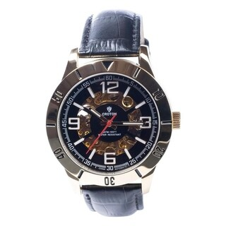 Croton Men's Goldtone Stainless Automatic Watch with Skeleton Dial and Black Leather Strap