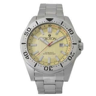 Croton Men's CA301298SSIV Stainless Bracelet Watch with Pineapple Dial & Rotating Bezel - Silvertone - N/A