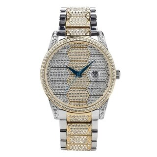 Croton Men's CN307598TTPV Two-Tone Honeycomb Designed Austrian Crystal Bracelet Watch - N/A