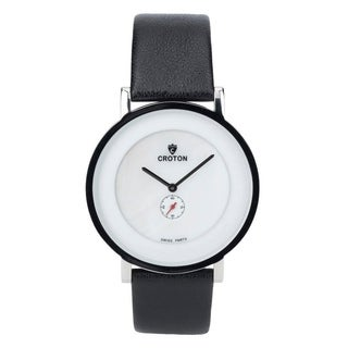 Croton Men's CN307576SSMP Ultra Thin Silvertone Leather Strap Watch