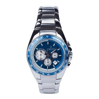 Croton Men's CC311362SSBL20 Stanless Chronograph Bracelet Watch with Blue Dial & Bezel - Silvertone